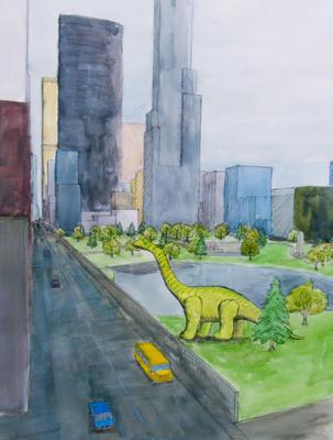 Lost World: Brachiosaurus drawing; 2015